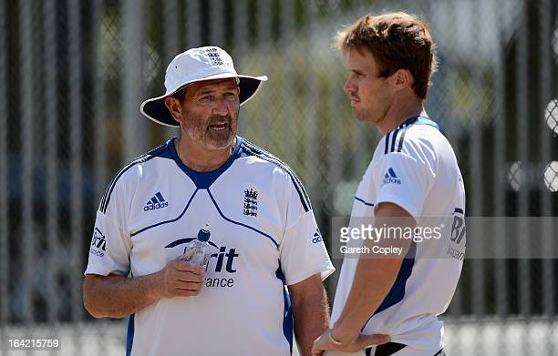 England batting coach Graham Gooch speaks with Nick Compton during an England nets session at Eden Park on March 21 2013 in Auckland New Zealand