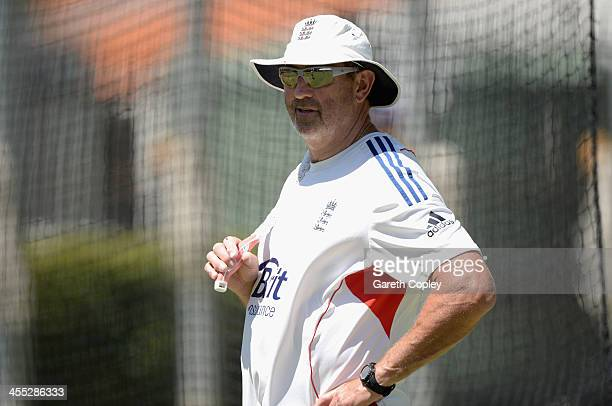 England batting coach Graham Gooch watches on during an England nets session at WACA on December 12 2013 in Perth Australia