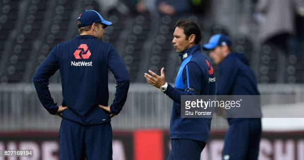 England batting coach Mark Ramprakash with England batsman Dawid Malan before day four of the 4th Investec Test match between England and South...