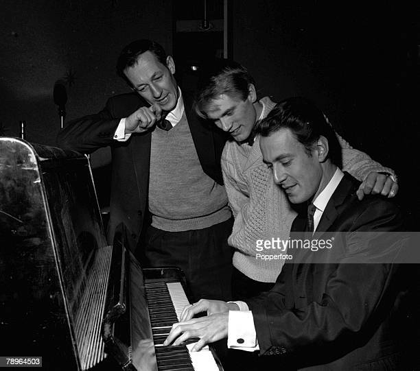 England BBC Producer Brian Matthew is pictured with singer Adam Faith and musician and producer John Barry on 'Saturday Club'