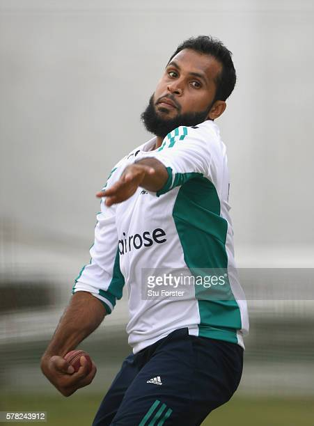 England bowler Adil Rashid in action during England Nets ahead of the 2nd Investec test match against Pakistan at Old Trafford on July 21 2016 in...