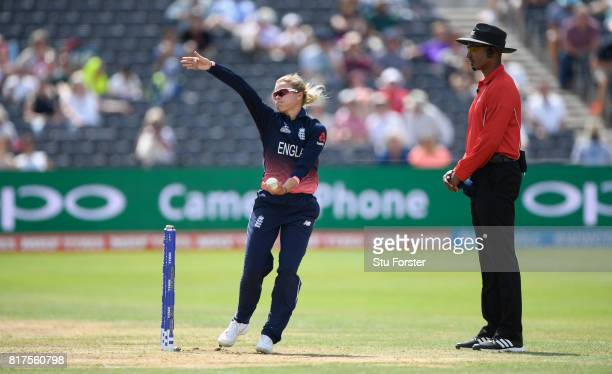 England bowler Alexandra Hartley in action during the ICC Women's World Cup 2017 SemiFinal at The County Ground on July 18 2017 in Bristol England