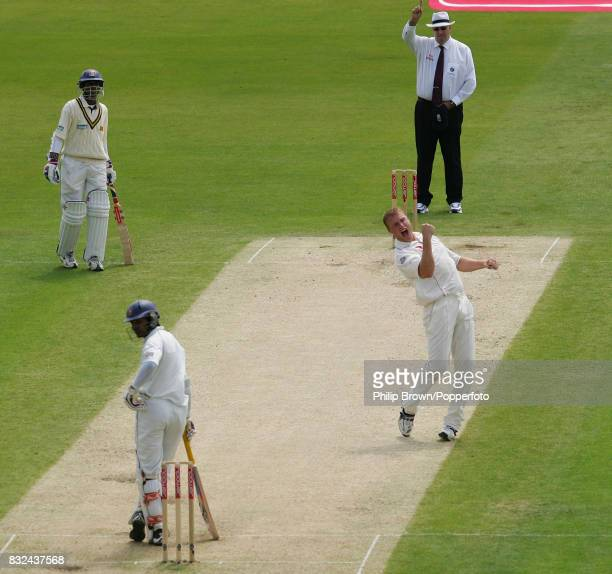 England bowler Andrew Flintoff celebrates the wicket of Sri Lanka's Kumar Sangakkara during the 3rd Test match between England and Sri Lanka at Trent...