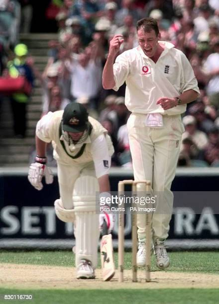 England bowler Angus Fraser celebrates after bowling Australia's Mark Waugh lbw on the third day of the Fourth Ashes Test in Melbourne Australia