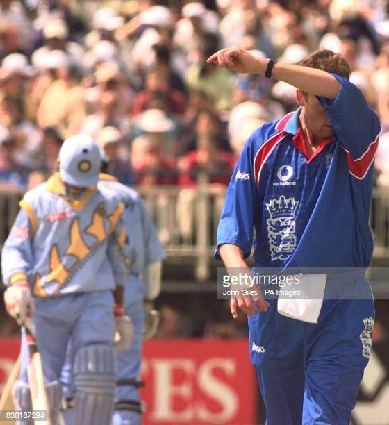 England bowler Angus Fraser finds it hard going against the Indian opening batsmen during the Cricket World Cup 1999 match at Edgbaston