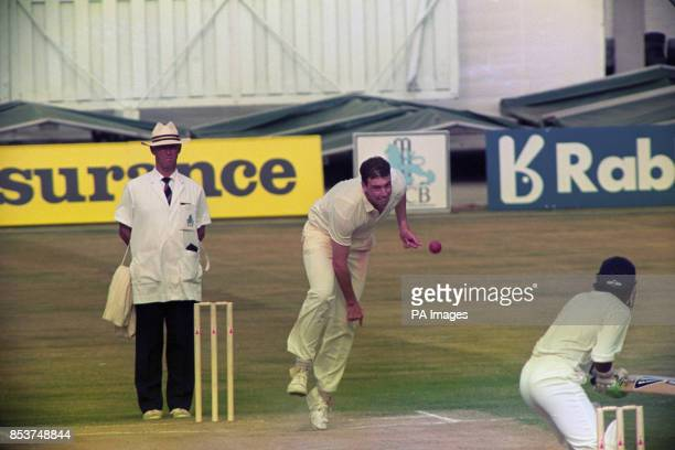 England bowler Angus Fraser in action at Old Trafford