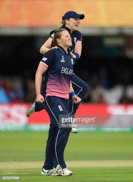 England bowler Anya Shrubsole and captain Heather Knight celebrates after dismissing Veda Krishnamurthy during the ICC Women's World Cup 2017 Final...