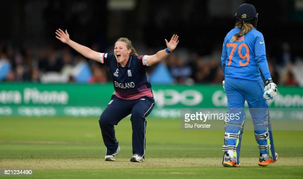England bowler Anya Shrubsole appeals with success for the wicket of Punam Raut during the ICC Women's World Cup 2017 Final between England and India...