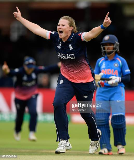 England bowler Anya Shrubsole celebrates after bowling Smrtri Mandhana during the ICC Women's World Cup 2017 Final between England and India at...