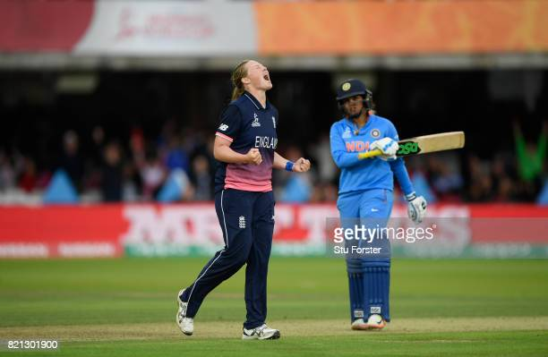 England bowler Anya Shrubsole celebrates after dismissing Veda Krishnamurthy during the ICC Women's World Cup 2017 Final between England and India at...