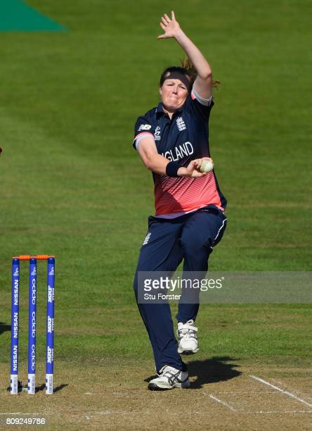 England bowler Anya Shrubsole in action during the ICC Women's World Cup 2017 match between England and South Africa at The County Ground on July 5...