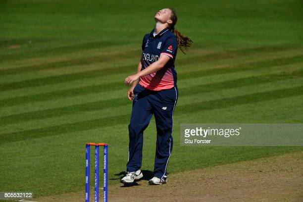 England bowler Anya Shrubsole reacts after a dropped catch during the ICC Women's World Cup 2017 match between England and Sri Lanka at The Cooper...
