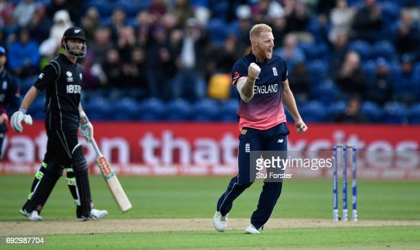 England bowler Ben Stokes celebrates after dismissing Martin Guptill during the ICC Champions Trophy match between England and New Zealand at SWALEC...