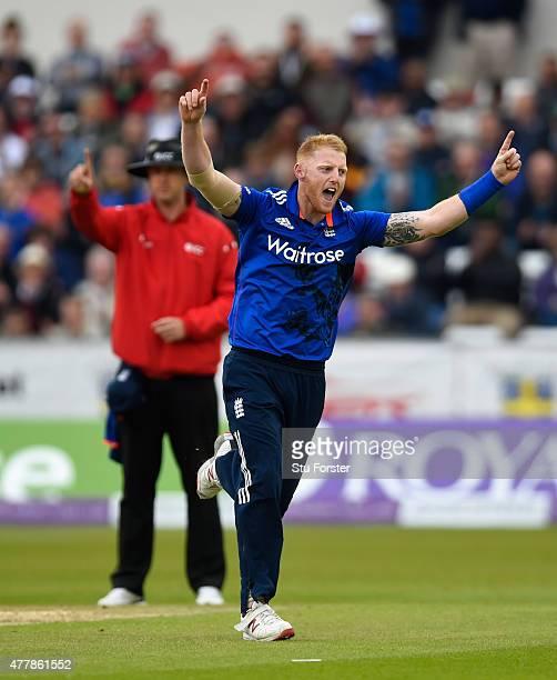 England bowler Ben Stokes celebrates after dismissing New Zealand batsman Martin Guptill during the 5th Royal London One day international between...