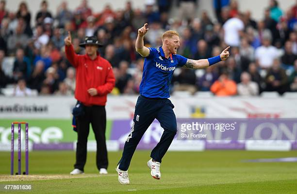 England bowler Ben Stokes celebrates after dismissing New Zealand batsman Martin Guptill during the 5th Royal London One day international between...