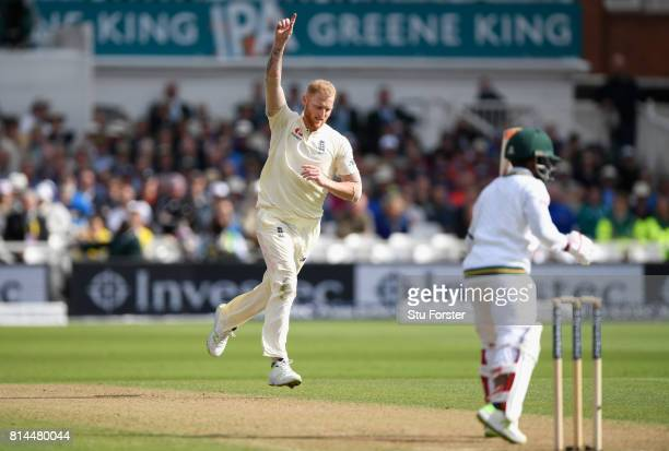 England bowler Ben Stokes celebrates the wicket of Temba Bavuma during day one of the 2nd Investec Test match between England and South Africa at...