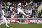 England bowler Chris Jordan celebrates after dismissing India batsman Pakaj Singh to wrap up victory for England during day three of the 4th Investec...