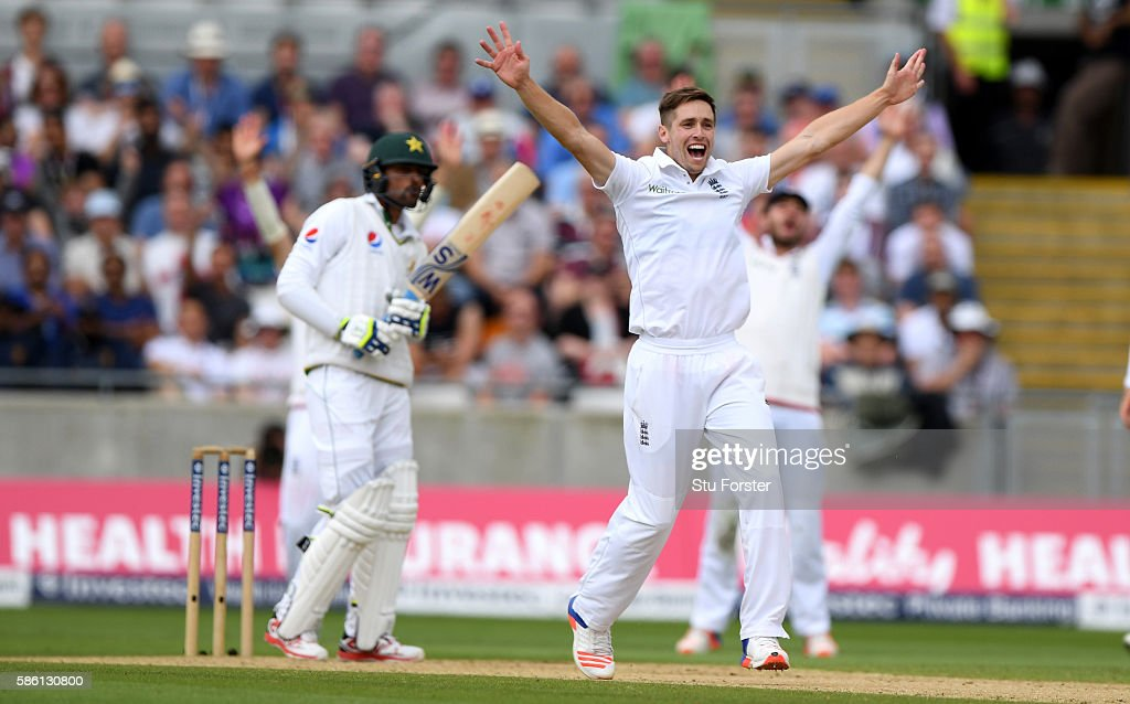 England bowler Chris Woakes appeals succesfully for the wicket of Pakistan batsman Mohammad Amir during day 3 of the 3rd Investec Test Match between Engand and Pakistan at Edgbaston on August 5, 2016 in Birmingham, England.