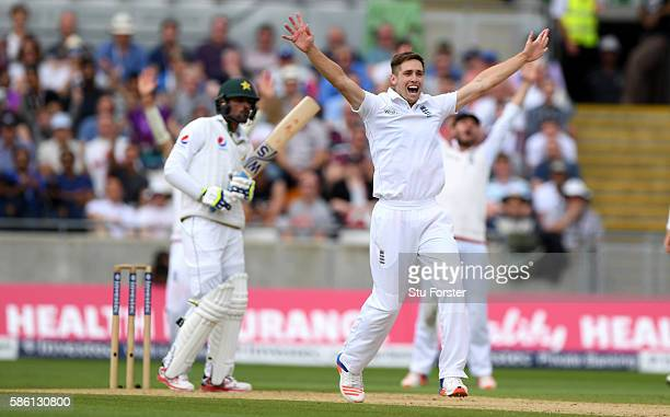 England bowler Chris Woakes appeals succesfully for the wicket of Pakistan batsman Mohammad Amir during day 3 of the 3rd Investec Test Match between...