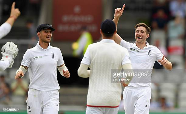 England bowler Chris Woakes celebrates after catching Pakistan batsman Azhar Ali off his own bowling during day two of the 2nd Investec Test match...