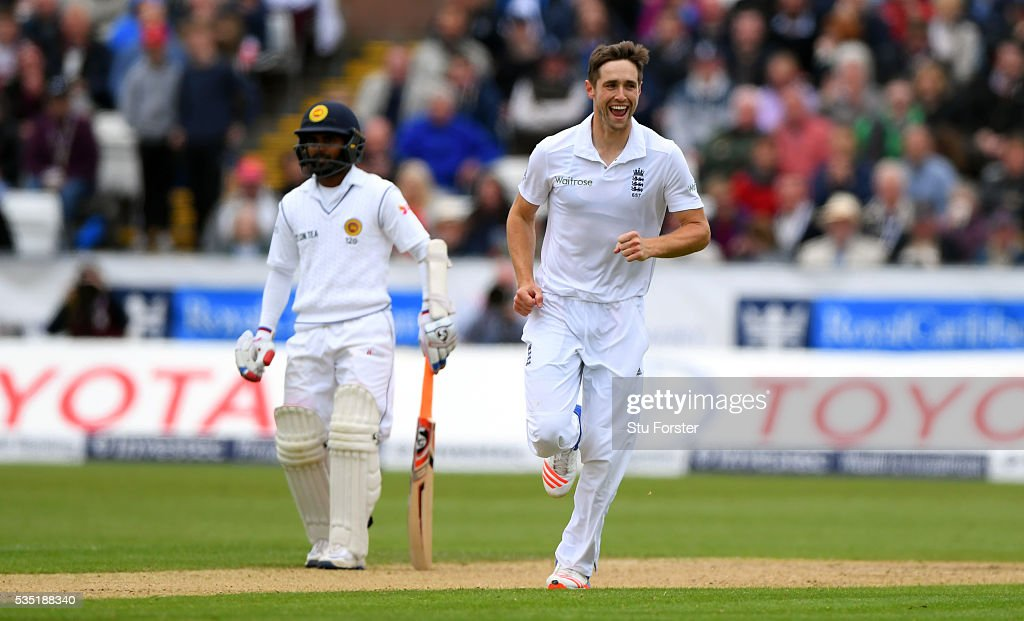 England bowler Chris Woakes celebrates after dismissing Dimuth Karunaratne during day three of the 2nd Investec Test match between England and Sri Lanka at Emirates Durham ICG on May 29, 2016 in Chester-le-Street, United Kingdom.