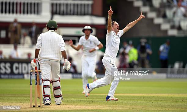 England bowler Chris Woakes celebrates after taking the wicket of Pakistan batsman Sarfraz Ahmed for his 10th wicket in the match during day three of...
