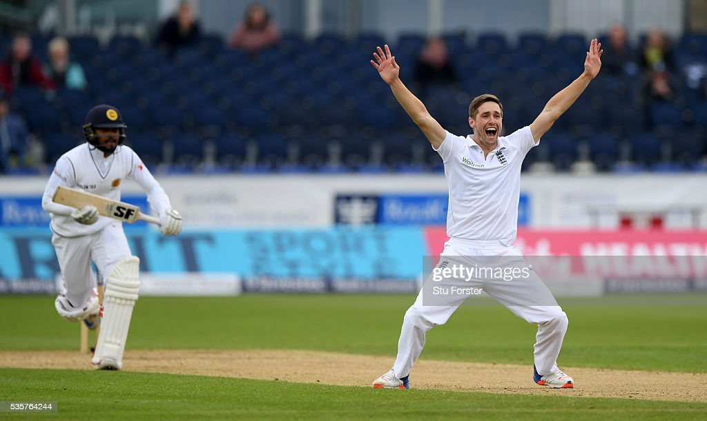 England bowler Chris Woakes has an lbw appeal turned down against Sri Lanka batsman Dinesh Chandimal during day four of the 2nd Investec Test match between England and Sri Lanka at Emirates Durham ICG on May 30, 2016 in Chester-le-Street, United Kingdom.
