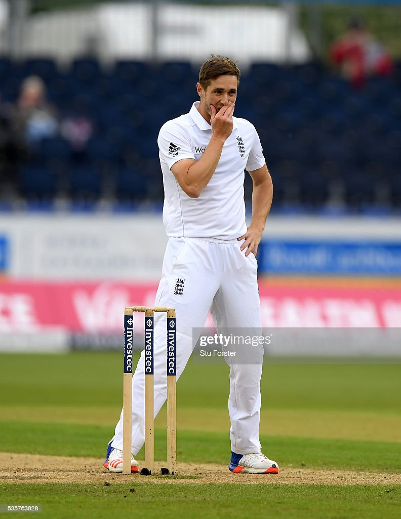 England bowler <a gi-track='captionPersonalityLinkClicked' href=/galleries/search?phrase=Chris+Woakes&family=editorial&specificpeople=4444585 ng-click='$event.stopPropagation()'>Chris Woakes</a> reacts during day four of the 2nd Investec Test match between England and Sri Lanka at Emirates Durham ICG on May 30, 2016 in Chester-le-Street, United Kingdom.