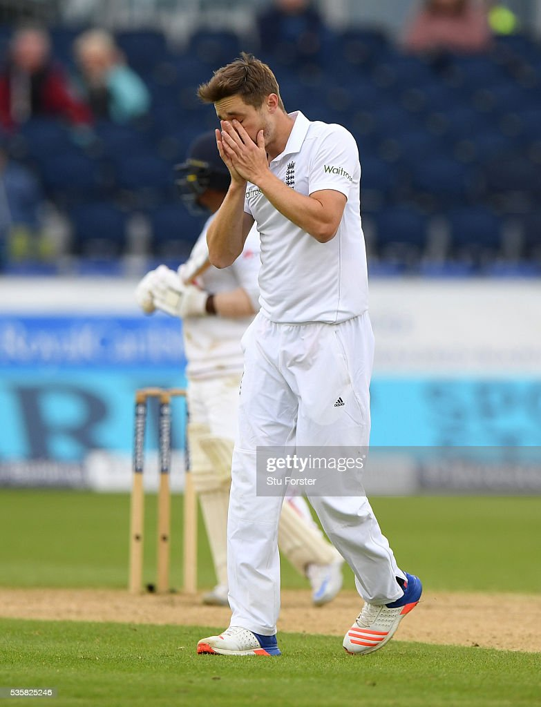 England bowler Chris Woakes reacts during day four of the 2nd Investec Test match between England and Sri Lanka at Emirates Durham ICG on May 30, 2016 in Chester-le-Street, United Kingdom.