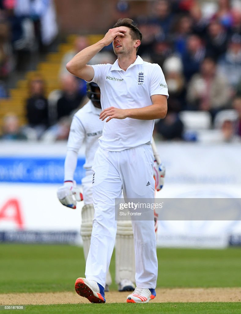 England bowler <a gi-track='captionPersonalityLinkClicked' href=/galleries/search?phrase=Chris+Woakes&family=editorial&specificpeople=4444585 ng-click='$event.stopPropagation()'>Chris Woakes</a> recats during day three of the 2nd Investec Test match between England and Sri Lanka at Emirates Durham ICG on May 29, 2016 in Chester-le-Street, United Kingdom.