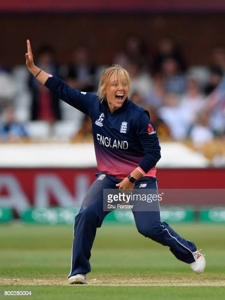 England bowler Danielle Hazell appeals for a wicket during the ICC Women's World Cup 2017 match between England and India at The 3aaa County Ground...