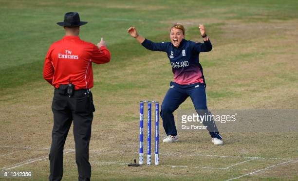 England bowler Danielle Hazell celebrates after dismissing Alyssa Healy during the ICC Women's World Cup 2017 match between England and Australia at...