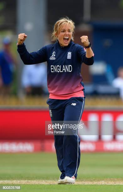 England bowler Danielle Hazell celebrates after dismissing Poonam Raut during the ICC Women's World Cup 2017 match between England and India at The...