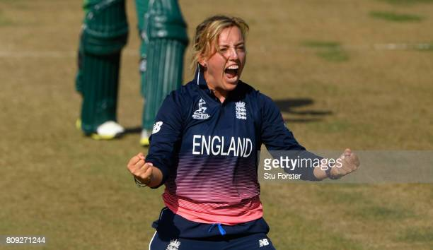 England bowler Danielle Hazell celebrates after taking a wicket during the ICC Women's World Cup 2017 match between England and South Africa at The...