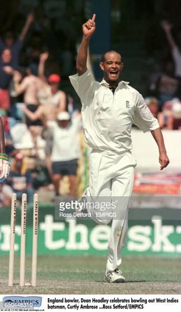 England bowler Dean Headley celebrates bowling out West Indies batsman Curtly Ambrose