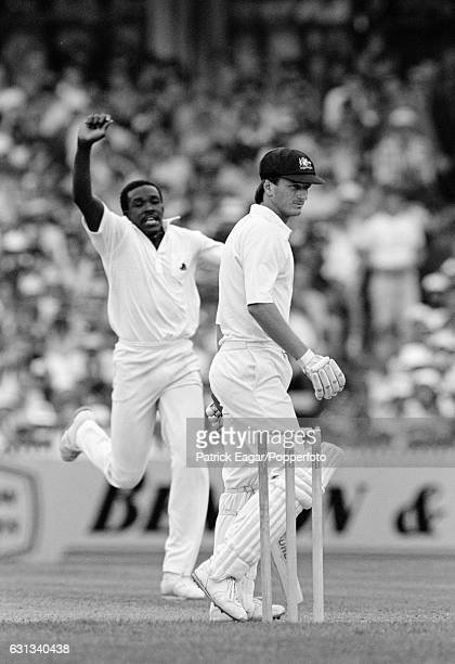 England bowler Gladstone Small celebrates dismissing Steve Waugh of Australia for 10 runs in the 4th Test match between Australia and England at the...