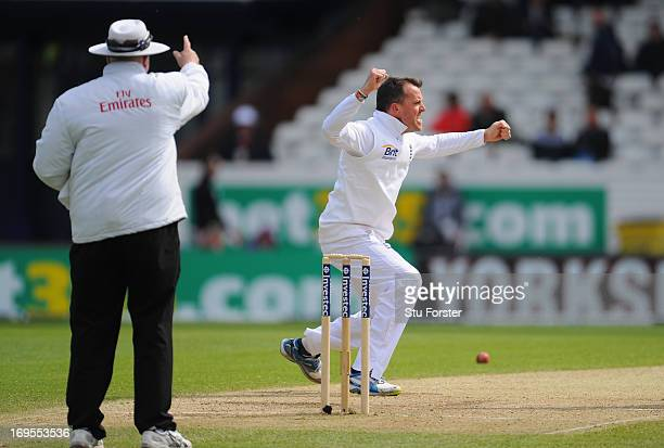 England bowler Graeme Swann appeals with success for the wicket of Kane Williamson during day four of 2nd Investec Test match between England and New...