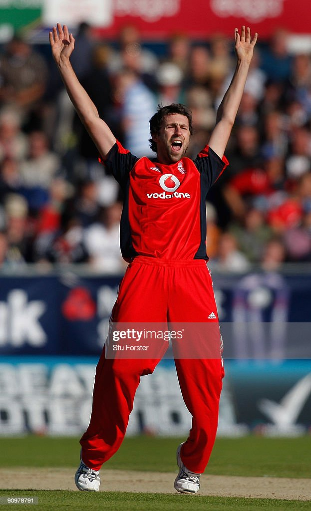 England bowler Graham Onions appeals for a wicket on his one day debut during the 7th NatWest ODI between England and Australia at The Riverside on...