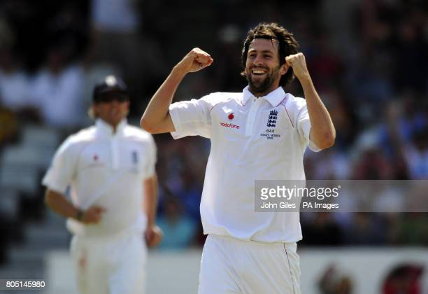 England bowler Graham Onions celebrates taking the wicket of Australia's Michael Clarke during the fourth test at Headingley Leeds