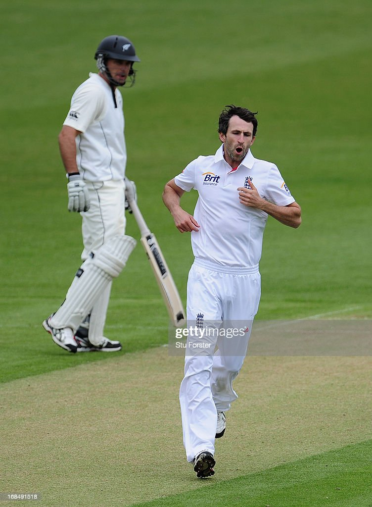 England bowler Graham Onions raises a smile after taking the wicket of New Zealand batsman Brendon McCullum during day two of the tour match between England Lions and New Zealand at Grace Road on May 10, 2013 in Leicester, England.