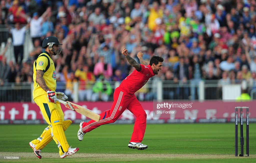 England bowler <a gi-track='captionPersonalityLinkClicked' href=/galleries/search?phrase=Jade+Dernbach&family=editorial&specificpeople=667885 ng-click='$event.stopPropagation()'>Jade Dernbach</a> celebrates after taking the wicket of James Faulkner during the 2nd NatWest series T20 match between England and Australia at Emirates Durham ICG on August 31, 2013 in Chester-le-Street, England.
