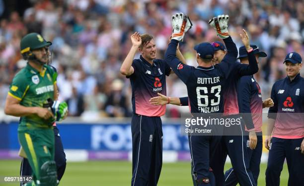 England bowler Jake Ball celebrates with team mates after dismissing South Aafrica batsman Faf du Plessis during the 3rd Royal London Cup match...