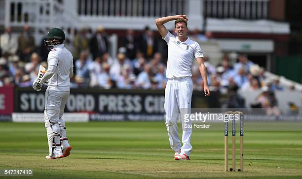 England bowler Jake Ball reacts after a near chance by Mohammad Hafeez of Pakistan during day one of the 1st Investec Test match between England and...