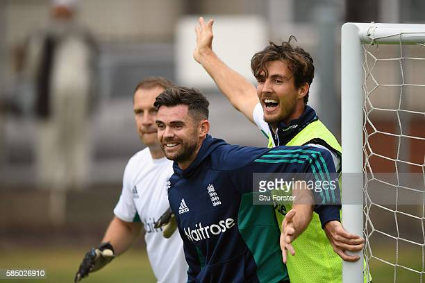 England bowler James Anderson and Steven Finn during England nets at Edgbaston on August 1 2016 in Birmingham England