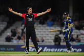 England bowler James Anderson appeals with success after dismissing Sri Lanka batsman Mahela Jayawardene during the first Natwest One Day...