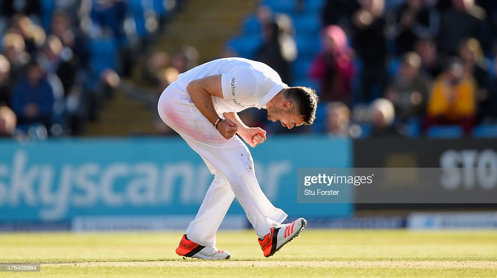 England bowler James Anderson bowler celebrates after dismissing Luke Ronchi during day three of the 2nd Investec test match between England and New...