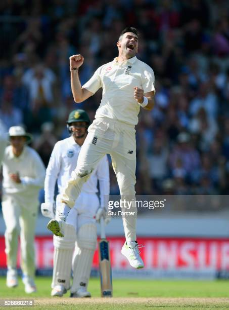 England bowler James Anderson celebrates after bowling South Africa batsman Faf du Plessis during day two of the 4th Investec Test match between...