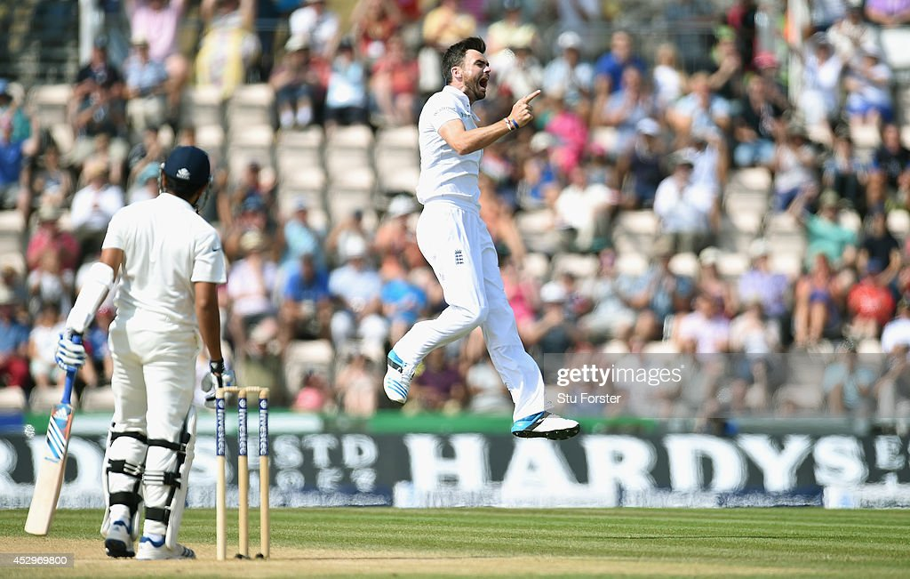 England bowler <a gi-track='captionPersonalityLinkClicked' href=/galleries/search?phrase=James+Anderson+-+Cricket+Player&family=editorial&specificpeople=6920305 ng-click='$event.stopPropagation()'>James Anderson</a> celebrates after dismissing India batsman <a gi-track='captionPersonalityLinkClicked' href=/galleries/search?phrase=Rohit+Sharma&family=editorial&specificpeople=815520 ng-click='$event.stopPropagation()'>Rohit Sharma</a> during day five of the 3rd Investec Test match between England and India at Ageas Bowl on July 31, 2014 in Southampton, England.