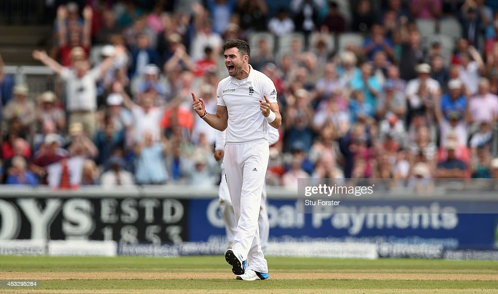 England bowler <a gi-track='captionPersonalityLinkClicked' href=/galleries/search?phrase=James+Anderson+-+Cricket+Player&family=editorial&specificpeople=6920305 ng-click='$event.stopPropagation()'>James Anderson</a> celebrates after dismissing India batsman Ravindra Jadeja during day one of the 4th Investec Test match between England and India at Old Trafford on August 7, 2014 in Manchester, England.