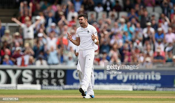 England bowler James Anderson celebrates after dismissing India batsman Ravindra Jadeja during day one of the 4th Investec Test match between England...